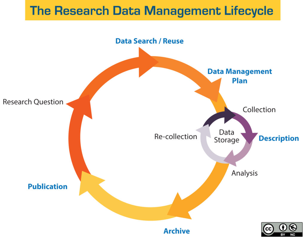 Shows 6 steps in a circle. First step: Research question. Second step: Data search or reuse. Third step: Creation of a data management plan. Fourth step: Description, which includes a three-step sub-cycle centered around data storage: Collection, Analysis, and Re-collection. Fifth step: Archive. Sixth step: Publication.