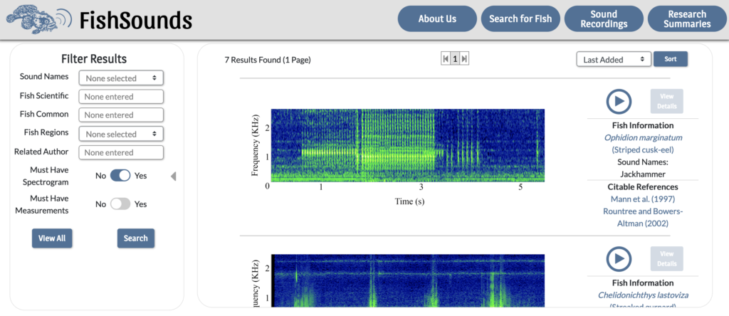 Screenshot of the FishSounds website showing the recording search page